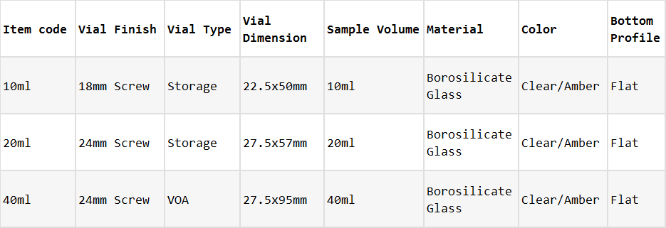 Storage Vials_Specifications